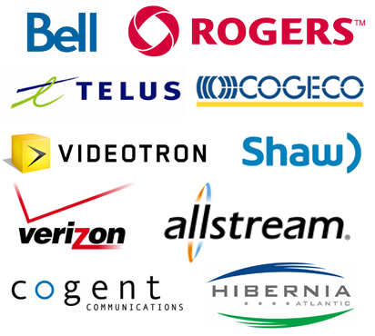 Netrium's carriers include Bell, Rogers, Telus, Cogeco, Videotron, Shaw, Verizon, Allstream, Cogent, Hibernia and much more!